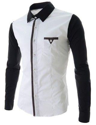 Camisa Casual de Primavera en Tejido Suave - en Blanco y Negro ... 141d21a9b58be