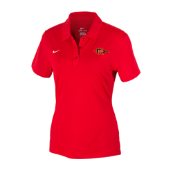 Nike polo with left chest SD Arrow logo featuring a Dri-FIT fabric and three-button placket. $60.