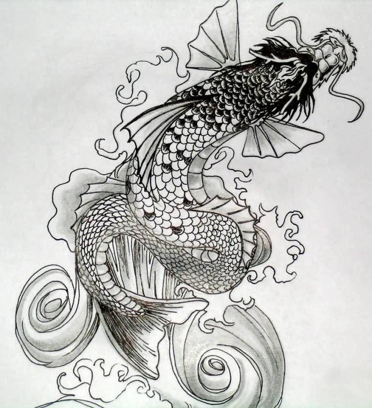 Fantastic Koi Fish Dragon Tattoo Deisgn Black And White Koi Dragon Koi Tattoo Design Dragon Koi Tattoo Design