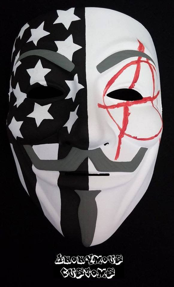 Anonymous Custom Mask Anarchy In The Usa Hand Painted Anonymous