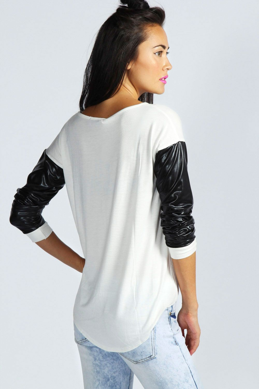 0fcdc68495d1 Leona Wet Look Long Sleeve Top at boohoo.com | fashion | Tops, Long ...
