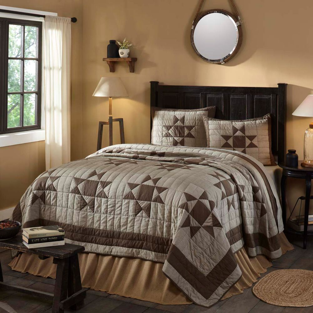 Patchwork Queen Quilt Country Bedding Set With Ohio Star