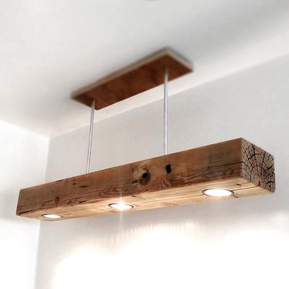 Reclaimed Wood Beam Spot LED Pendant Light Fixture with modern metal canopy base - #base #beam #canopy #Fixture #holz #led #Light #Metal #Modern #Pendant #Reclaimed #spot #Wood