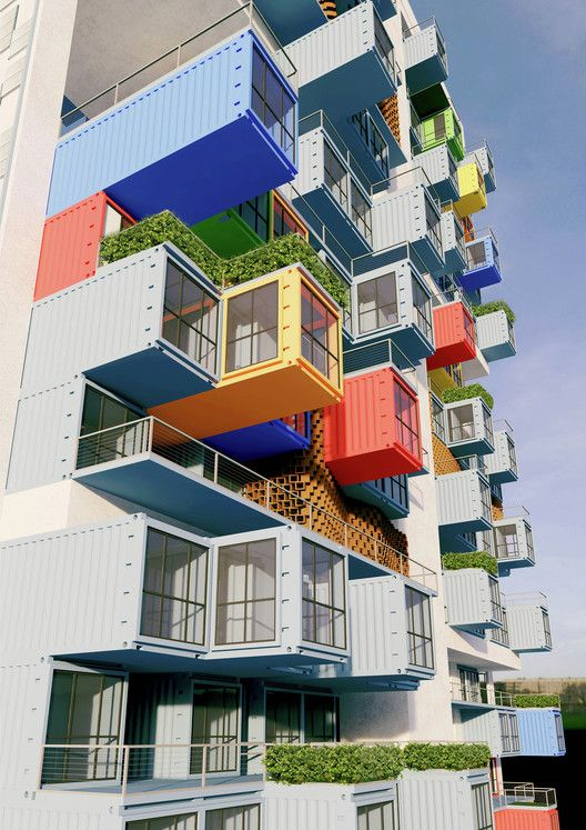 Opinion: What's Wrong With Shipping Container Housing? Everything.,Ganti + Asociates Design's proposal for a shipping container skyscraper in Mumbai. Image Courtesy of GA Design