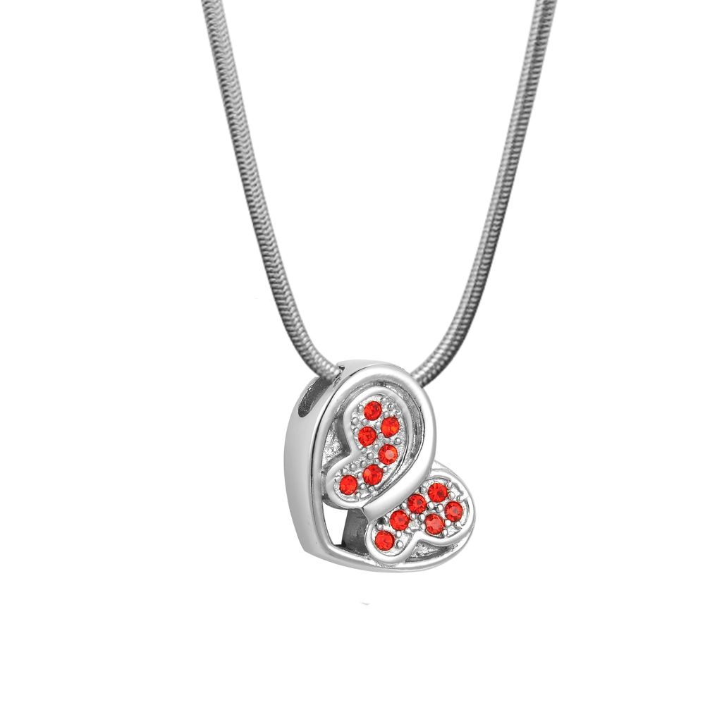 Loving Butterfly Red Crystal Cremation Jewelry Memorial