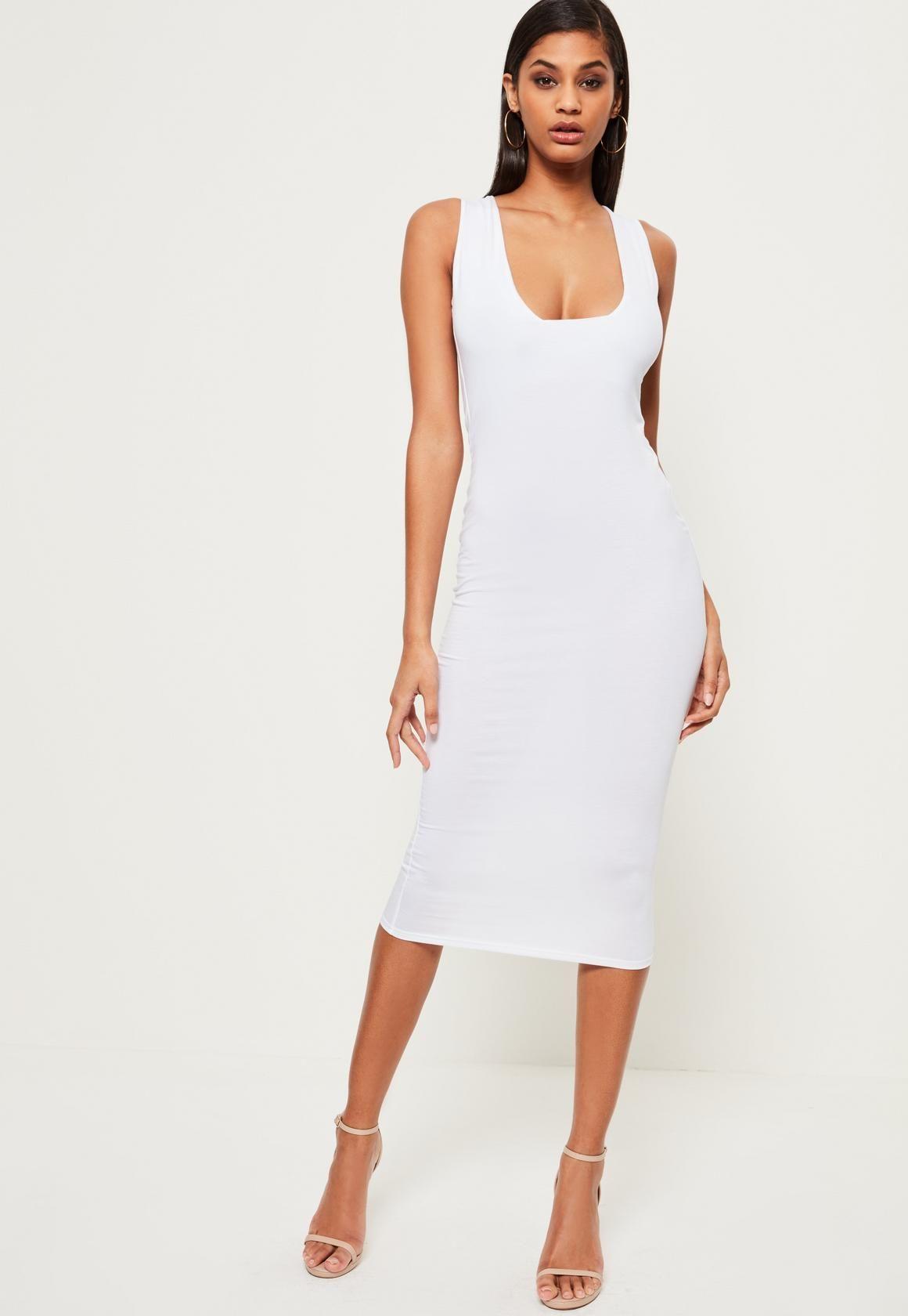 Missguided White Jersey Square Neck Midi Dress White Tight Dresses White Midi Dress Bodycon White Dress [ 1680 x 1160 Pixel ]