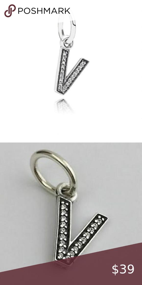 Authentic Pandora Letter V Charm In 2020 Pandora Jewelry Pandora Pandora Bracelets