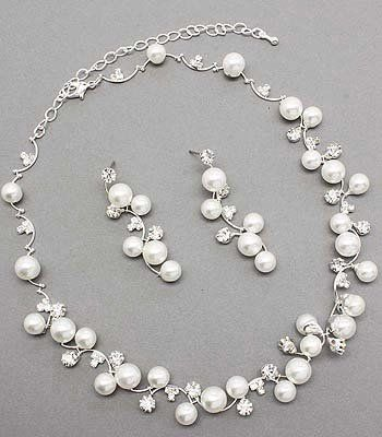 Bridal Wedding Jewelry Set Austrian Crystal Rhinestone Pearl White