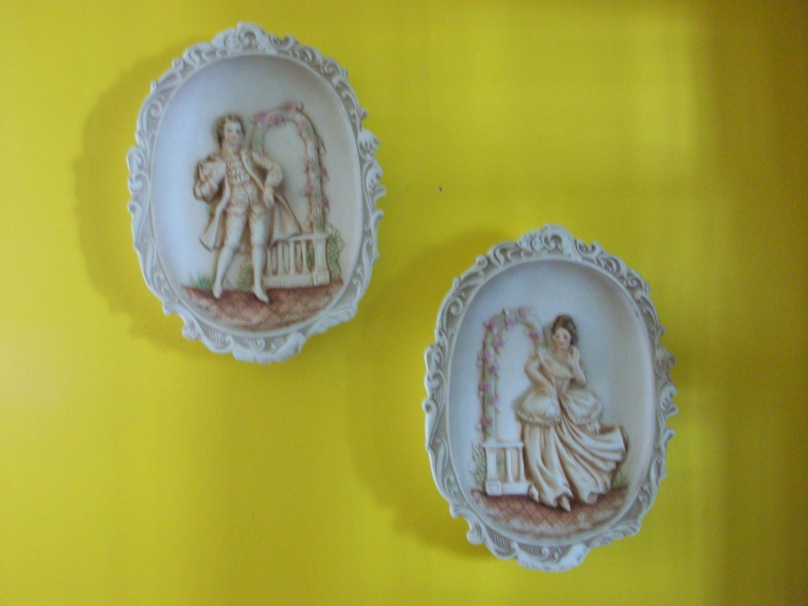 Lefton Porcelain Hand Painted 3-D Rose Trellis Colonial Couple Wall ...