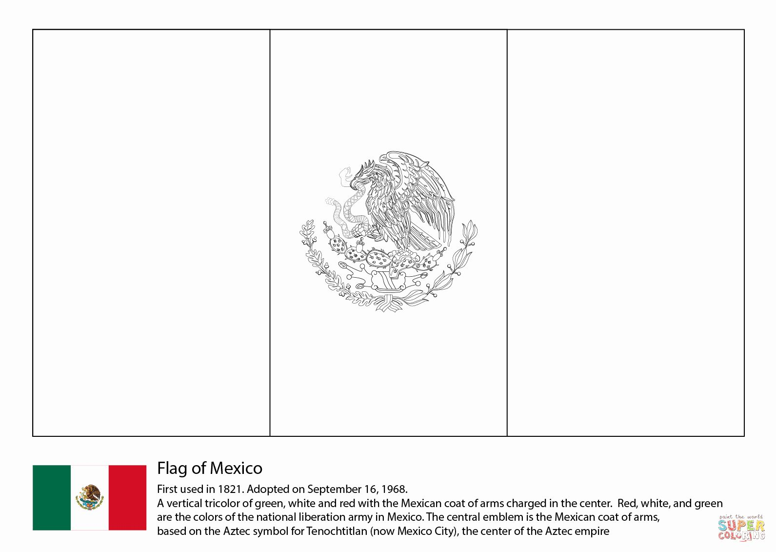 Mexican Flag Coloring Sheet In