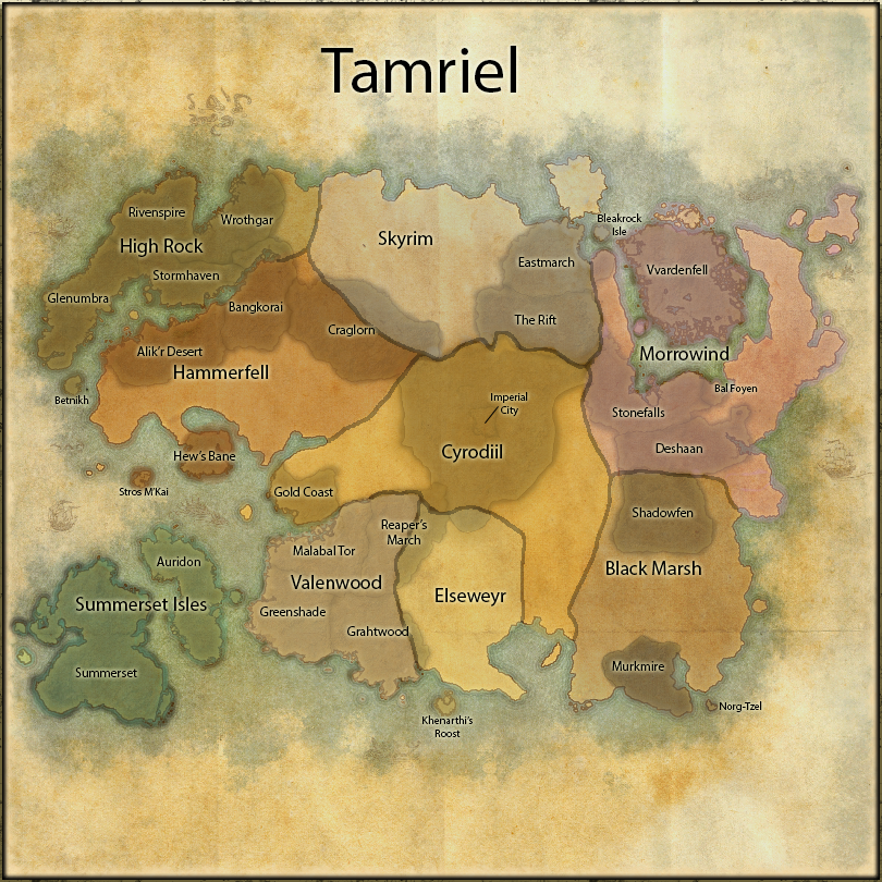 World map of the Elder Scrolls Online (ESO), colour coded and ...