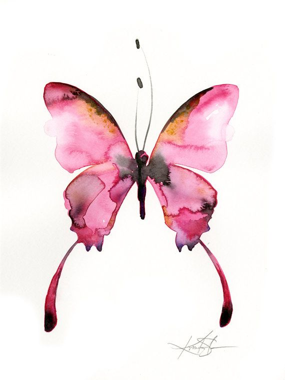 Pink Butterfly Watercolor Painting Abstract Pink Art Original