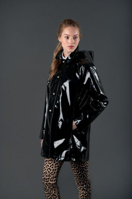Jane Post Usa Black Pvc Raincoat Imper Pvc Mode Et
