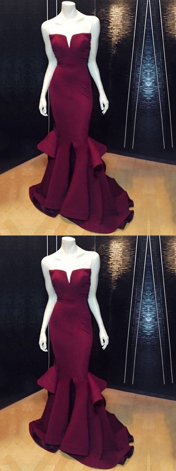 Mermaid prom dress modest beautiful cheap burgundy long prom dress