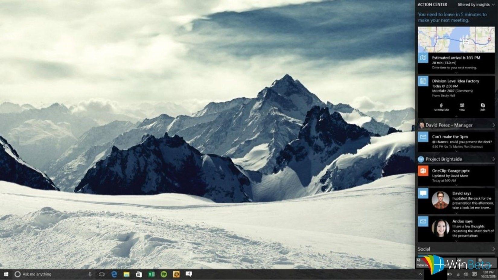Windows 10 moderniza Cortana y el centro de acción