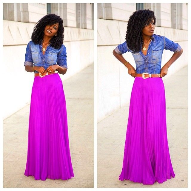 Fitted Denim Shirt   Pleated Maxi Skirt | My Style | Pinterest ...