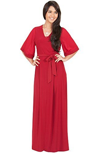 71c02c953ee9 Women s Formal Dresses - KOH KOH Womens Long VNeck 34 Sleeve Flowy Short  Sleeve Belt Gown Maxi Dress    Be sure to check out this awesome product.