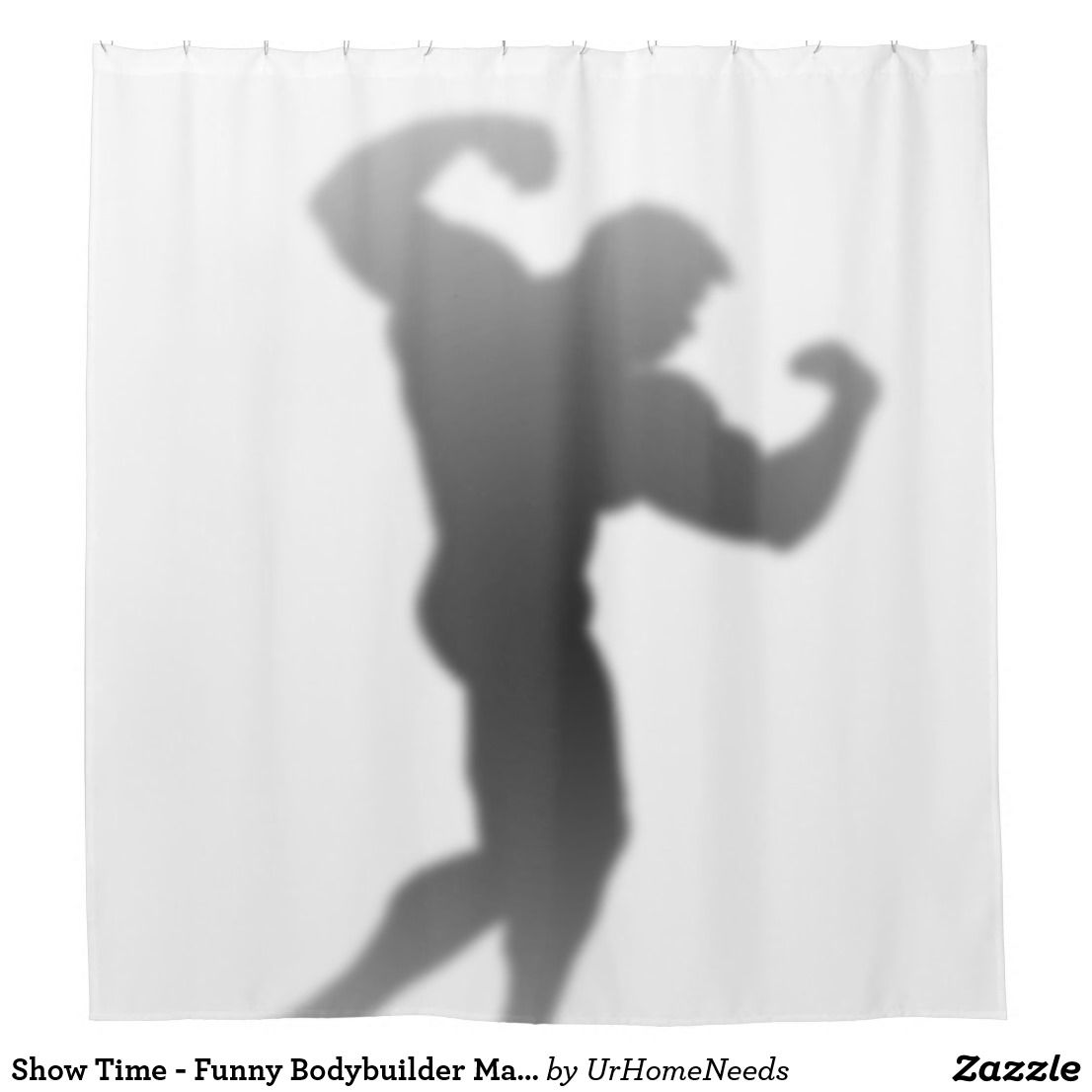 Show Time Funny Bodybuilder Man Silhouette Shower Curtain