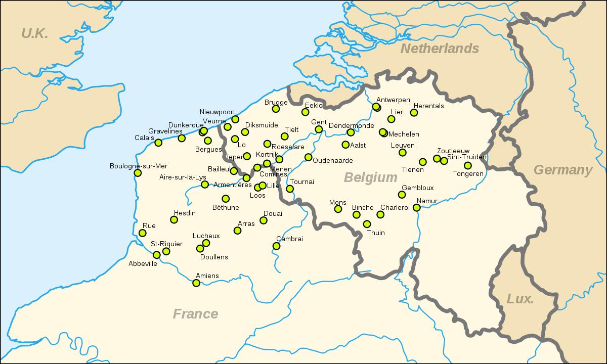 carte de france et belgique