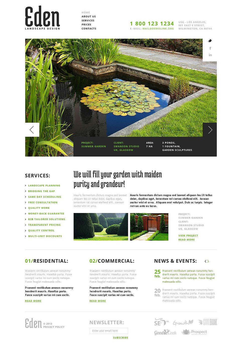 Landscape Design Facebook Html Cms Template 44100 Flyer Templates