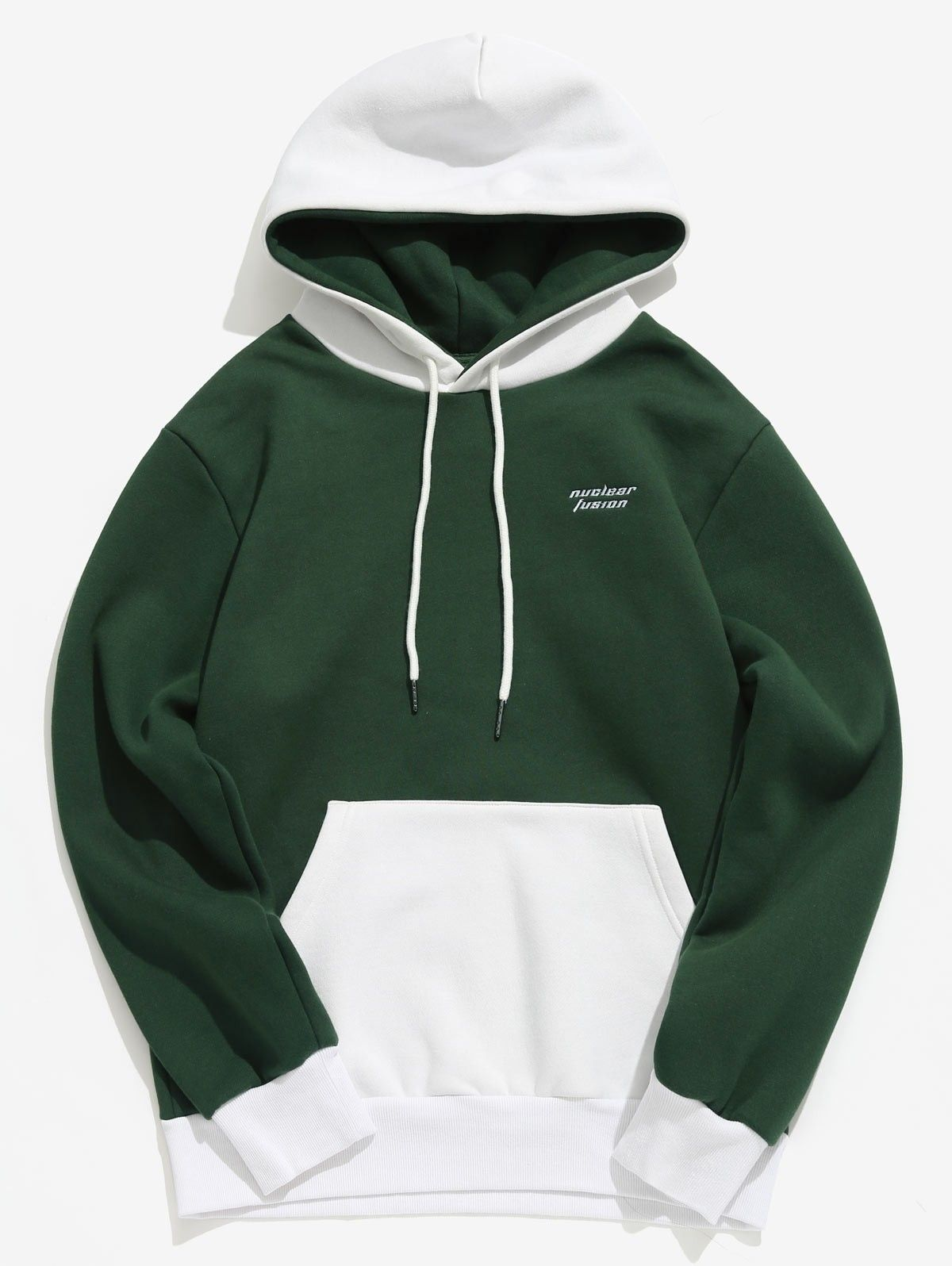 Letter Embroider Contract Color Pullover Hoodie Dark Forest Green 4l53388210 Size M Hoodie Fashion Stylish Hoodies Hoodies [ 1596 x 1200 Pixel ]
