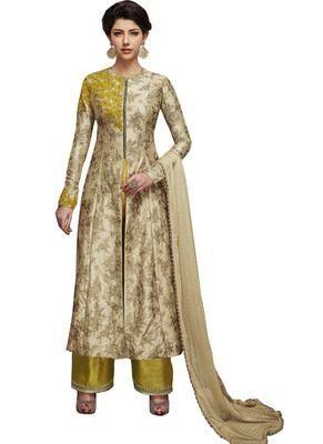 5ce071b3b65 Beige embroidered silk salwar