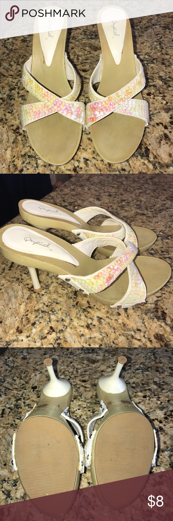 """Sequin Sandals Pink And White Metallic Sequin Sandals. Sole Is A Faux Wood. Slightly Worn. Heel Is Around 4"""" High. Qupid Shoes Sandals"""