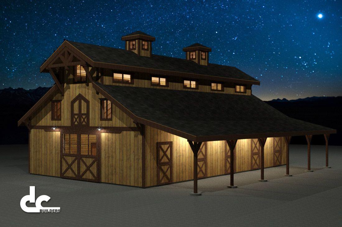 60 39 monitor barn floor plans night rendering barns for Monitor barn house plans