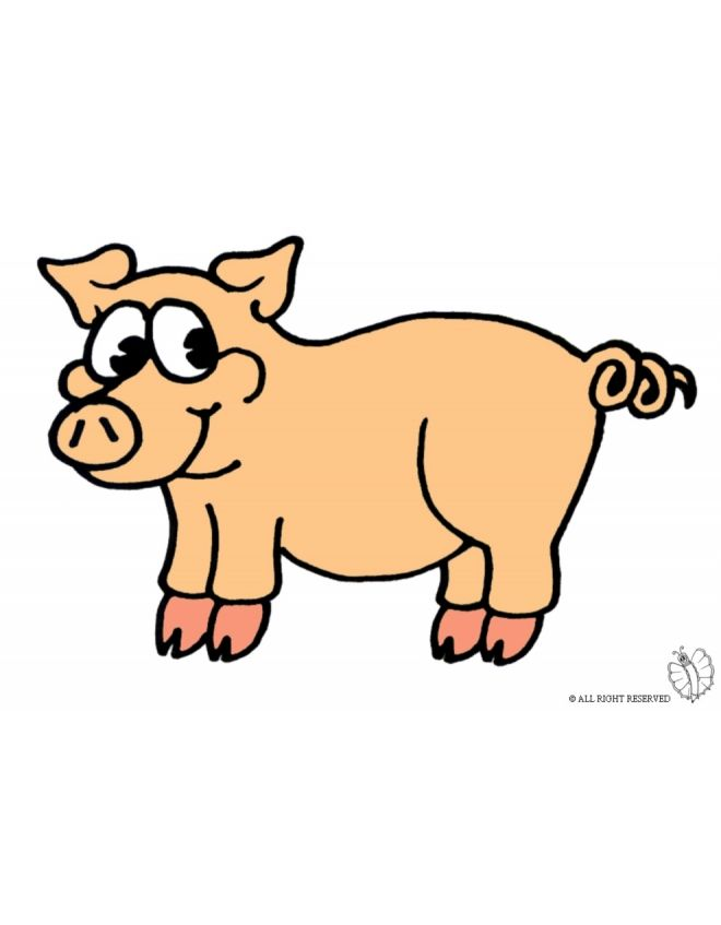 Disegno di maialino a colori per bambini gratis for Maialino disegno per bambini