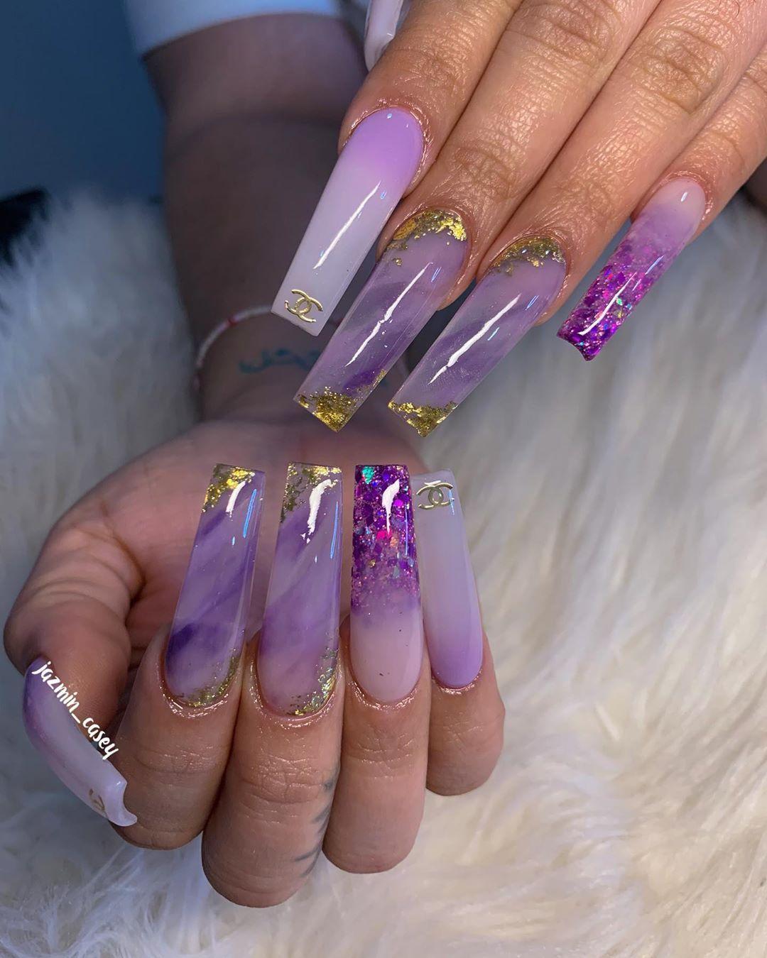 1 983 Me Gusta 23 Comentarios Jazmin Nail Bo Jazmin Casey En Instagram Crystal Vibes We Purple Acrylic Nails Lavender Nails Purple Nails
