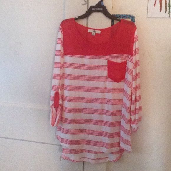 Red and white striped shirt. This is a red and white striped shirt, hardly worn. This runs big for a small, it's like a medium. Tops Tees - Long Sleeve