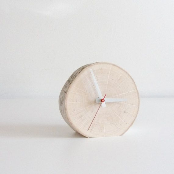 white birch wooden clock modern rustic clock by