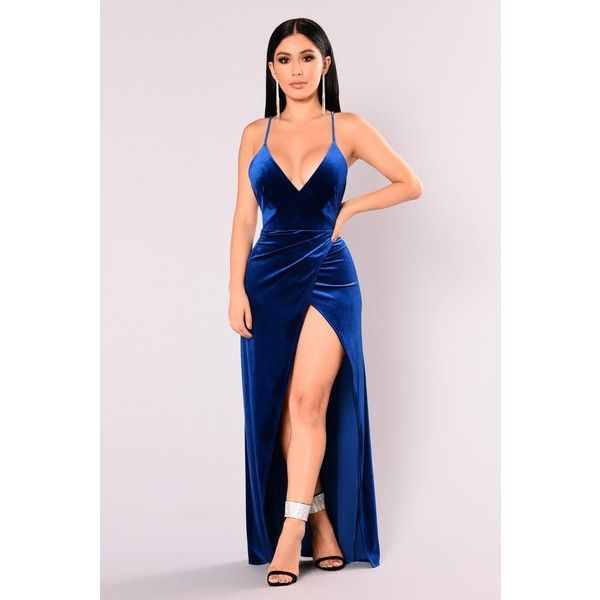 Angelique Velvet Maxi Dress Royal ($20) Liked On Polyvore