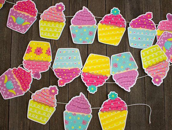 Cupcake Birthday Banner, Cupcake Garland, Girl\u0027s Birthday, Cupcakes