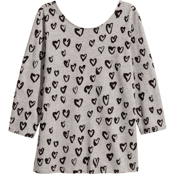 H&M+ Jersey top ($12) ❤ liked on Polyvore featuring tops, grey heart, plus size, grey top, gray top, h&m tops, fitted tops and plus size three quarter sleeve tops