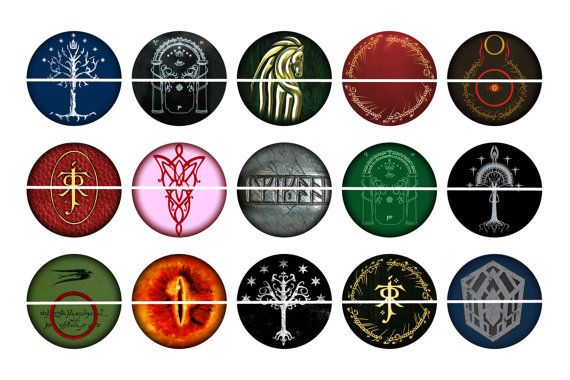 Lord Of The Rings Symbols 1 Inch Circles On 4x6 By Snarlingbunny