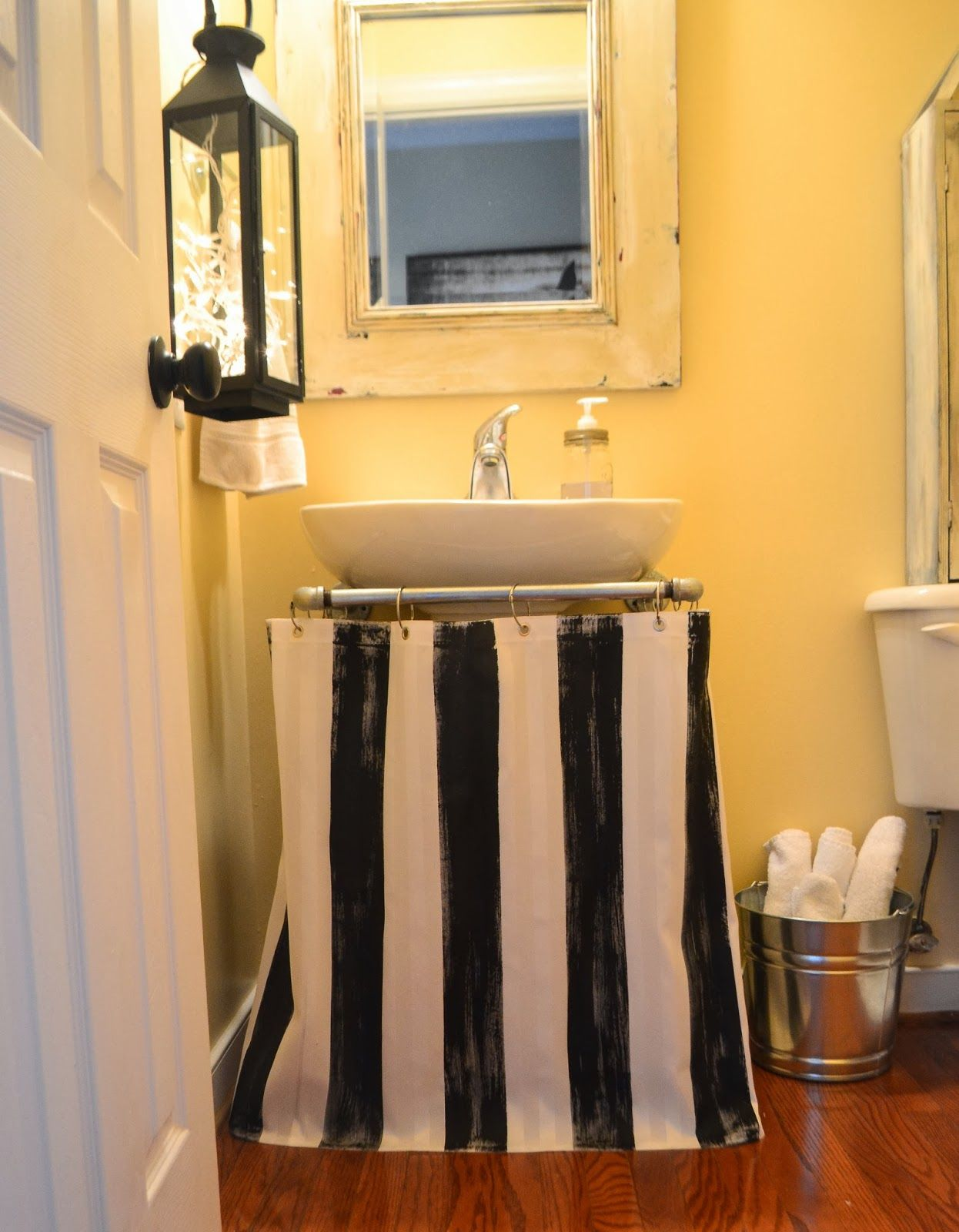 Down To Earth Style Painted Pedestal Sink Skirt Shower Curtain