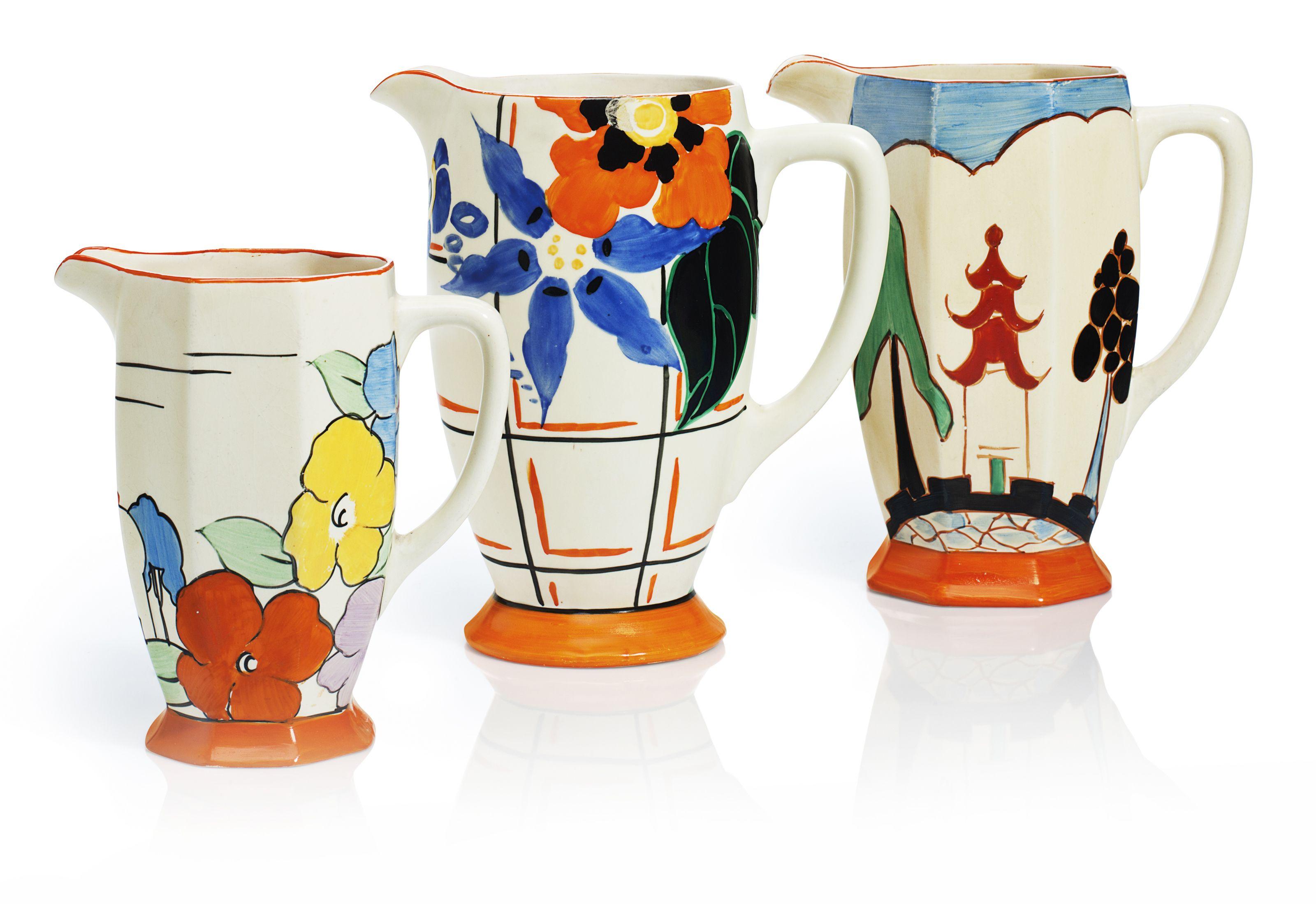 Three clarice cliff pitchers Clarice cliff, Vibrant art
