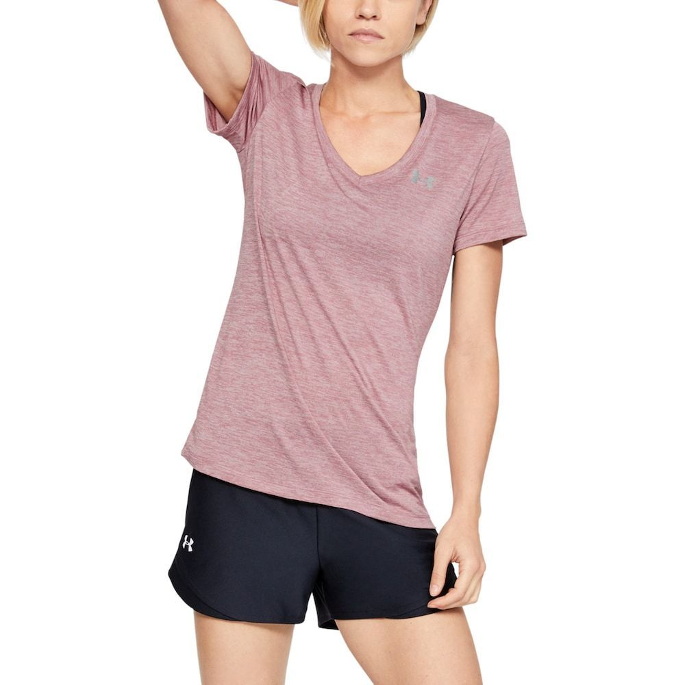 Women's Under Armour Tech Twist V-Neck Tee, Size: XS, Med Pink #Armour #Fitness Training for beginne...