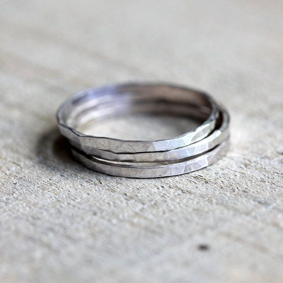 Stacking rings hammered sterling silver stacking by PraxisJewelry Set of 3 $38.00 Praxis Jewelry