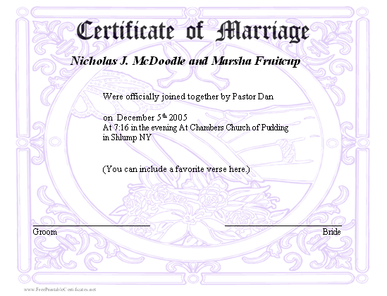 print a marriage certificate  A marriage certificate with a subtle design in the background ...