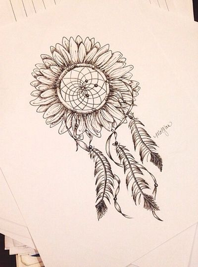 d64595dbf7992 Sunflower Dreamcatcher Tattoo Design Sooo Cute <3 | Love | Sunflower ...
