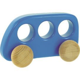 Blue London Bus. Beautiful, high quality wooden bus, in blue and yellow by BAJO wooden toys. Perfect for young children.