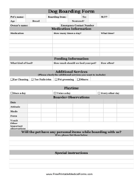 The Dog Boarding Form Has Space To Record Important