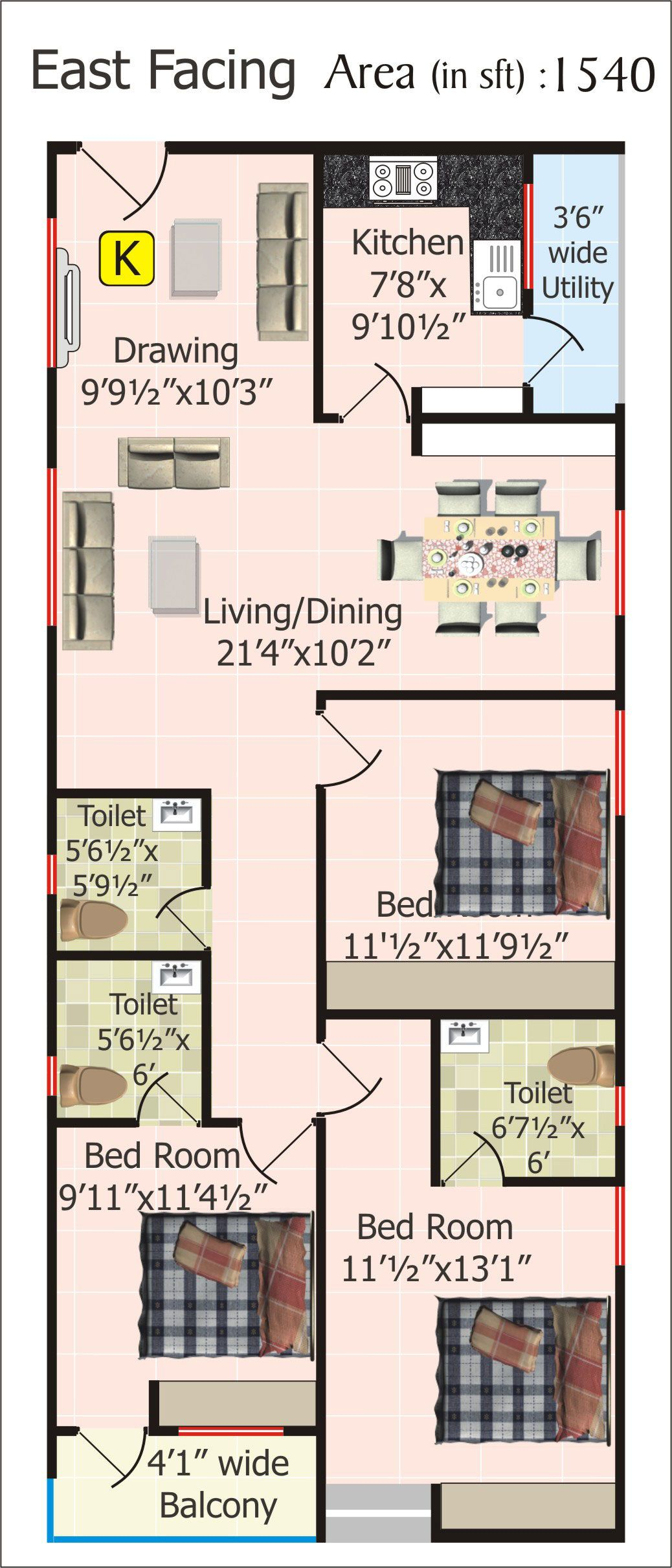 Floor plans for 20 x 60 house