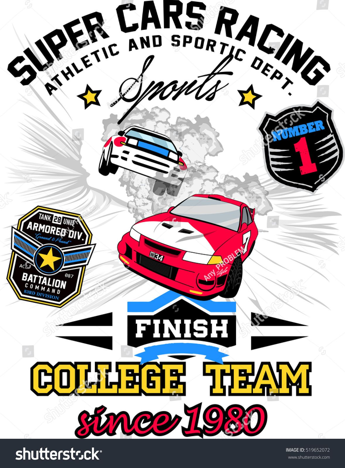 Vector Racing Car Transportation Art For Print