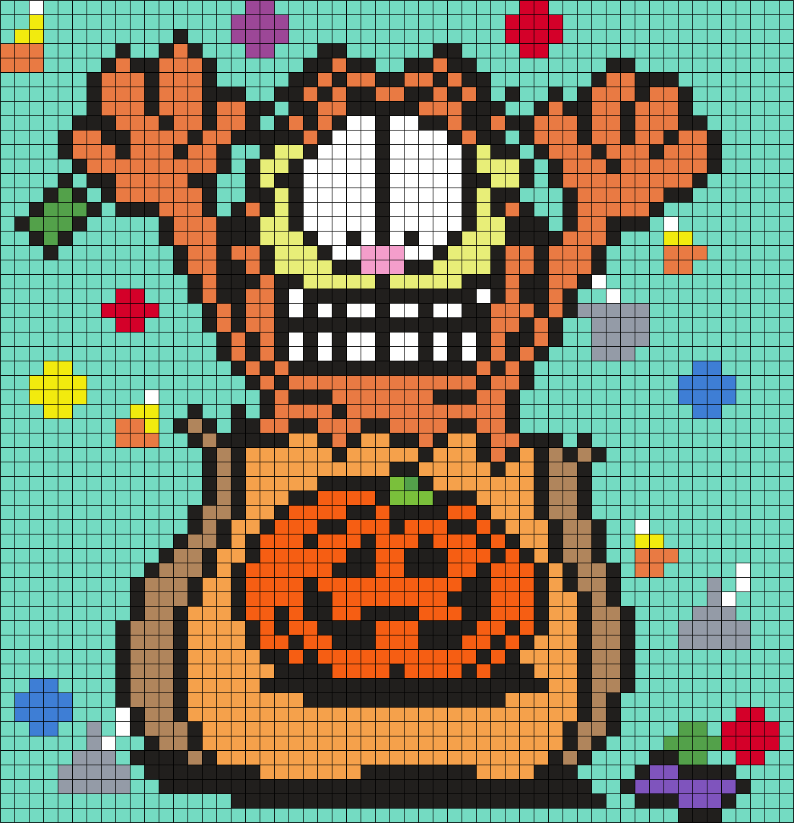 Garfield In A Halloween Treat Bag Square Grid Pattern