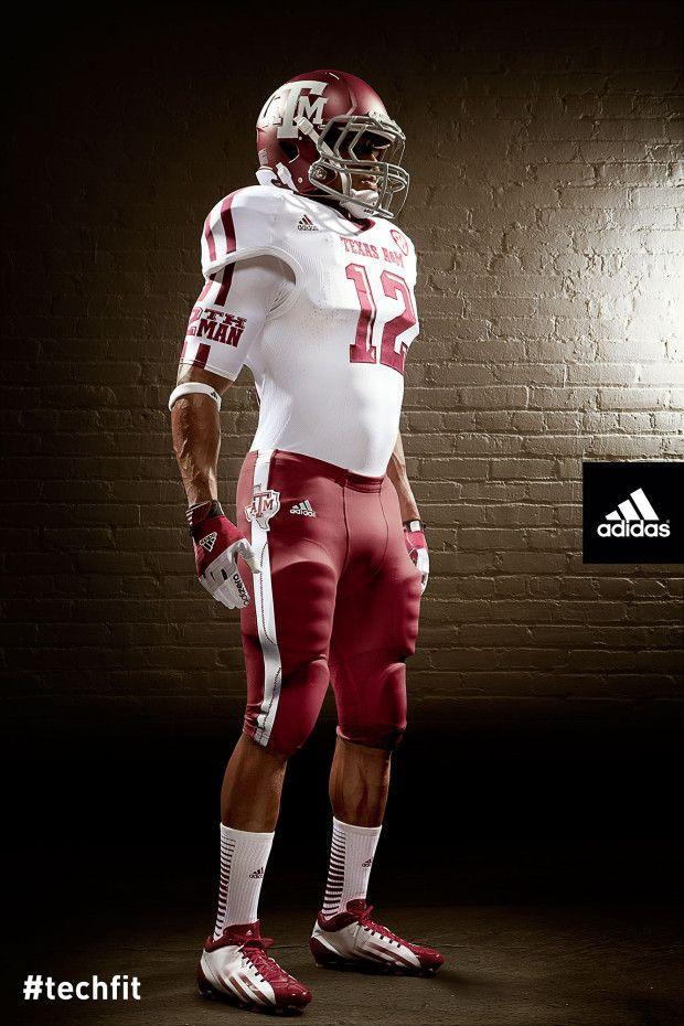 2012 Texas A M Adidas Techfit White On Maroon Unis College Football Uniforms Texas A M Football Football