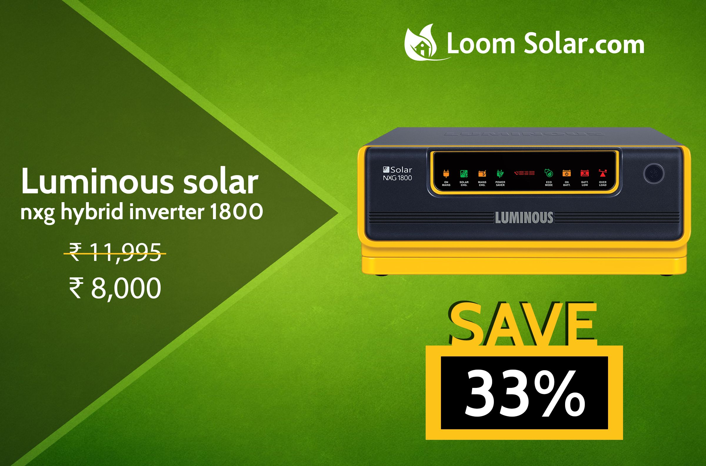 Get 33% off on Luminous solar nxg hybrid inverter 1800