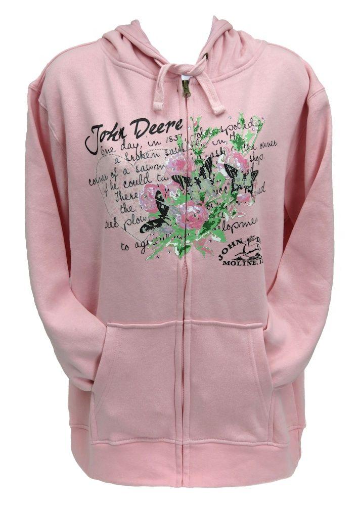 John Deere Womans Pink Fleece Hoodie JD History with Butterflies
